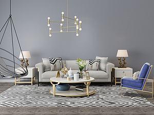 现代客厅装饰模型3d模型