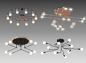现代吊灯组合模型3d模型