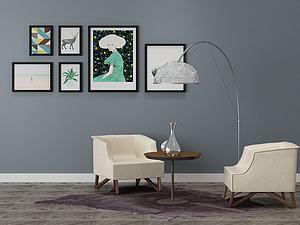 客厅装修沙发茶几模型3d模型