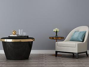 客厅装修沙发茶几组合模型3d模型