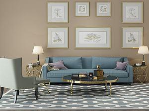 客厅装饰沙发茶几组合模型3d模型