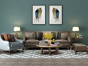 客厅沙发茶几组合模型3d模型