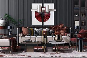 新中式沙發組合模型3d模型