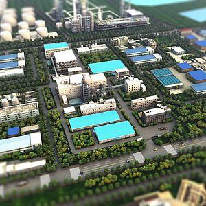 厂区鸟瞰场景3d模型