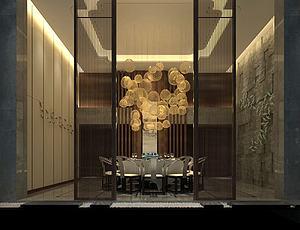 中式餐廳包間模型3d模型