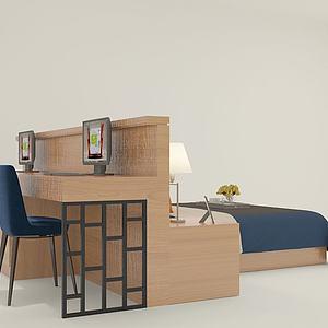 连体书桌床3d模型