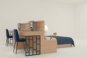 连体书桌床模型3d模型