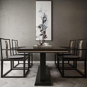 家具饰品组合中式餐桌模型3d模型
