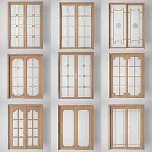 厨房阳台玻璃门组合3d模型