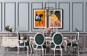 欧式餐桌椅模型3d模型