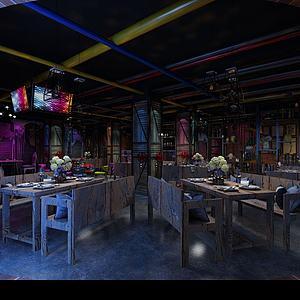 主题餐厅3d模型