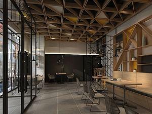 現代工業餐廳模型3d模型