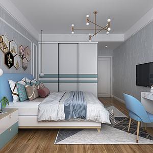 3d北欧卧室模型