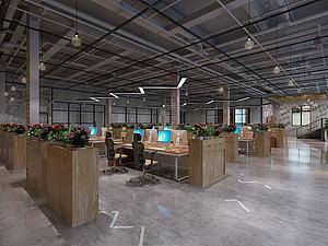 工業風辦公室模型3d模型