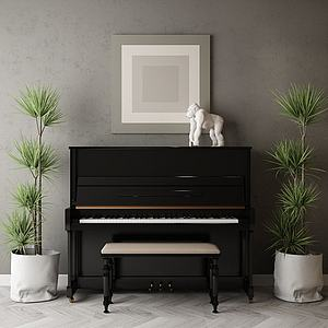 家具飾品組合鋼琴模型3d模型