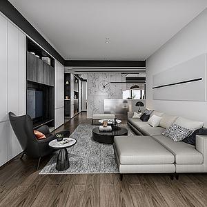 现代客厅沙发茶几3d模型
