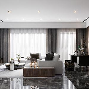 新中式轻奢客厅3d模型