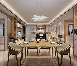 現代客餐廳全屋家具模型3d模型
