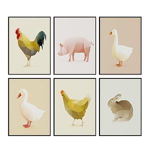現代家禽裝飾畫壁畫組合模型3d模型