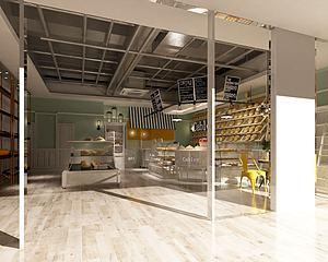 面包咖啡奶茶店模型3d模型