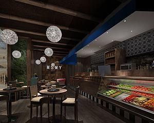 奶茶甜品店模型3d模型