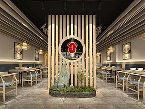 中式個性餐廳模型3d模型