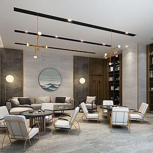 新中式會客室3d模型