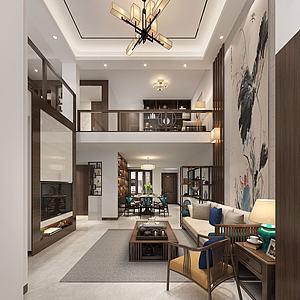新中式復式樓客餐廳3d模型