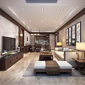 新中式客餐廳百葉3d模型
