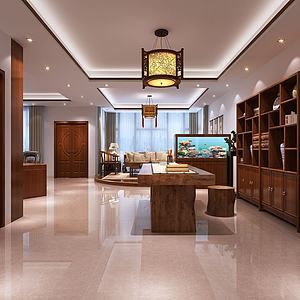 新中式老總辦公室3d模型