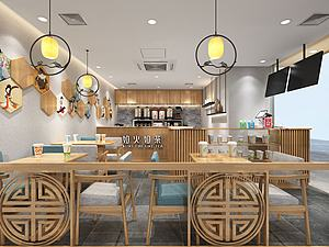 新中式奶茶店模型3d模型