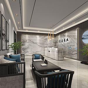 新中式前臺大廳3d模型