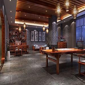 新中式书房办公室3d模型