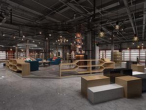 工業風休閑區展廳模型3d模型