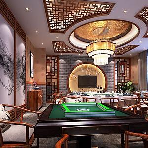中式餐厅包间3d模型