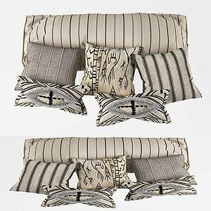 北歐布藝條紋抱枕組合3d模型