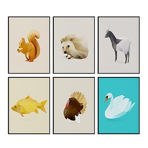 后現代動物掛畫壁畫模型3d模型