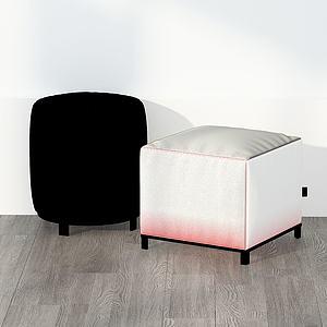 后現代布藝圓凳方凳組合3d模型