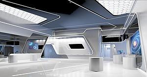 現代科技展廳模型3d模型