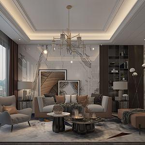 中式风格的客厅3d模型