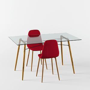 后現代桌椅組合3d模型