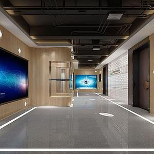 现代走廊楼梯间3d模型