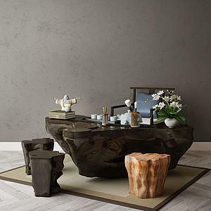 家具飾品組合茶臺模型3d模型