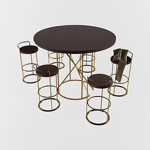 后現代休閑桌椅組合3d模型