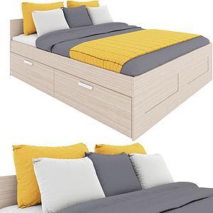 后現代簡約抽屜式雙人床模型3d模型