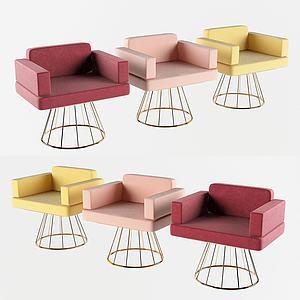 現代休閑椅三色3d模型