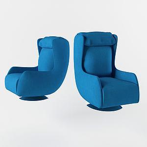 現代休閑靠椅藍色3d模型