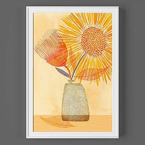 現代太陽花掛畫模型3d模型