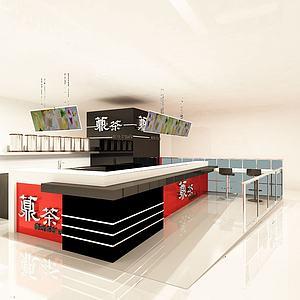 奶茶店柜台3d模型