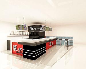 奶茶店柜臺模型3d模型